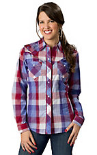 Roper® Womens Red, White and Blue Plaid with Silver Lurex and Embroidery Long Sleeve Western Shirt