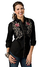 Roper® Womens Black Old West with Rose Embroidery and Screen Print Long Sleeve Retro Western Shirt