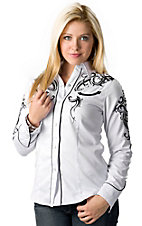 Roper® Women's White Old West with Black Embroidery Long Sleeve Retro Western Shirt