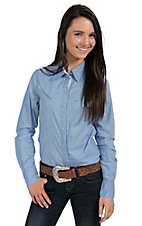 Tin Haul Women's Solid Light Blue Long Sleeve Western Shirt