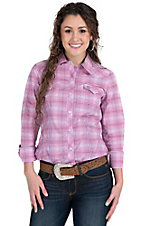 Tin Haul Women's Pink & Purple Check Long Sleeve Western Shirt