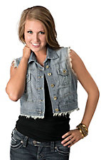 Boom Boom Jeans Women's Denim Frayed Cropped Vest