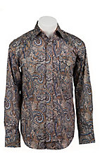 Stetson® Men's Brown, Blue & Gold Paisley Print Long Sleeve Western Snap Shirt 04250130BR