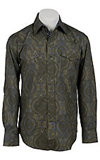 Stetson® Men's Green & Blue Paisley Print Long Sleeve Western Snap Shirt 04250131GR