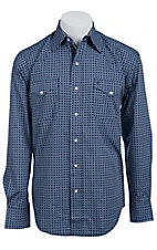Stetson Men's Blue Retro Circle Print Long Sleeve Western Snap Shirt