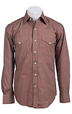 Stetson� Men's Red with Tan Print Long Sleeve Western Snap Shirt 04250662RE