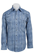 Stetson Men's Blue Baroque Print Long Sleeve Western Snap Shirt