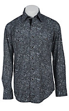 Stetson Men's Grey Paisley Print Long Sleeve Western Snap Shirt