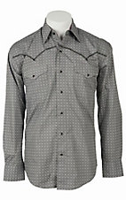 Stetson Men's Grey & Black Print Long Sleeve Western Snap Shirt