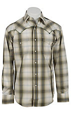 Stetson® Men's Moss Green & Blue Plaid Long Sleeve Western Snap Shirt 04780137GR
