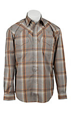 Stetson® Mens Grey, Orange & Blue Plaid Long Sleeve Western Snap Shirt  04780138BR