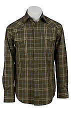 Stetson® Mens Green & Blue Plaid Long Sleeve Western Snap Shirt 04780139GR