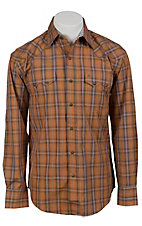 Stetson® Men's Orange & Grey Plaid Long Sleeve Western Snap Shirt 04780140OR