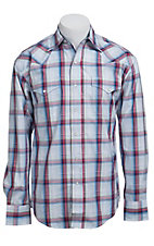 Stetson Men's Red, Blue & Lime Plaid Long Sleeve Western Snap Shirt