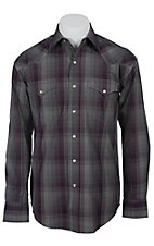 Stetson Men's Wine Grid Plaid Long Sleeve Western Snap Shirt