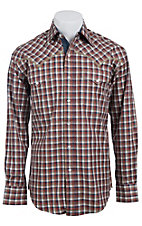 Stetson Men's Rust Multicolor Check Long Sleeve Western Snap Shirt