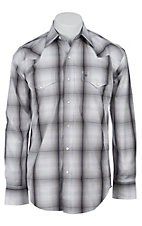 Stetson Men's White & Grey Fade Plaid Long Sleeve Western Snap Shirt