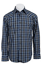 Stetson Men's Blue and Black Plaid Long Sleeve Western Snap Shirt