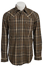 Stetson Men's Khaki, Brown & Orange Plaid Long Sleeve Western Snap Shirt