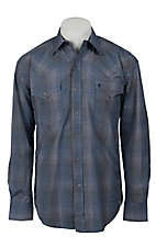 Stetson® Men's Blue & Navy Check Long Sleeve Western Snap Shirt  04780711BU