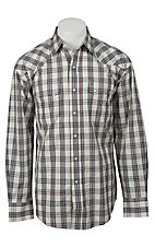Stetson® Mens Natural, Grey & Red Plaid Long Sleeve Western Snap Shirt 04780715GY