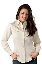 Roper® Women's Cream w/ Silver Embroidery Long Sleeve Retro Western Shirt