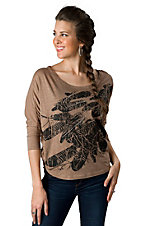 Roper® Women's Tan with Black Feather Print and Studs 3/4 Dolman Sleeve Fashion Top