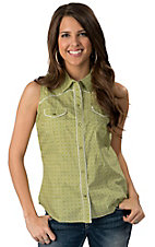Roper® Women's Lime Green & White Floral Print Sleeveless Western Shirt