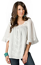 Roper® Womens White with Embroidery and Square Crochet Neckline 3/4 Sleeve Peasant Fashion Top