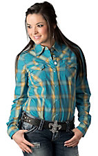 Roper Women's Turquoise and Yellow Plaid Long Sleeve Western Shirt