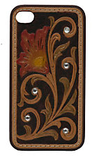 M&F Western Products Brown with Colorful Embossed Tooled Flower iPhone Case