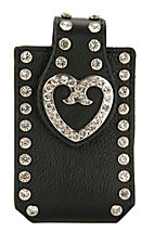M&F Western Products® Ladies Black Leather with Silver Heart Concho Cell Phone Case