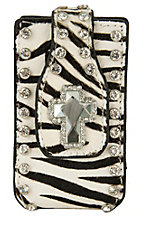 M&F Western Products® Ladies Zebra Hair with Jeweled Cross Concho Cell Phone Case