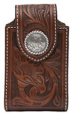 Nocona® Brown Leather Tooled Floral w/ Round Concho Cell Phone Case w/ 360 Clip
