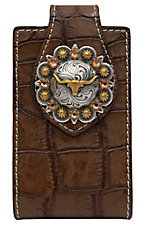 Nocona® Brown Leather Croc Print with Longhorn Concho iPhone Case w/ 360 Clip
