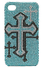 M&F Western Products® Blue, Black & Silver Bling Cross iPhone 4 Case