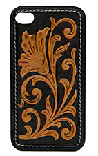 M&F Western Products® Black with Brown Embossed Tooled Flower iPhone Case