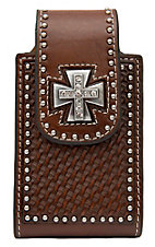 Nocona® Brown Leather Tooled Basket Weave with Cross Concho iPhone Case w/ 360 Clip