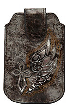 M&F Western Products® Grey and Brown with Silver Winged Cross iPhone Sleeve