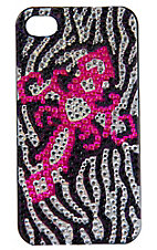 M&F Western Products® Black & Silver Zebra w/ Hot Pink Bling Cross iPhone 4 Case