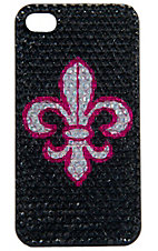 M&F Western Products® Black w/ Hot Pink & White Fleur De Lis Bling Cross iPhone 4 Case