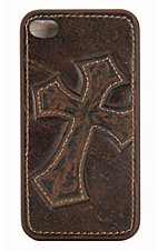 Nocona® Distressed Brown Leather w/ Cross iPhone 4 Case