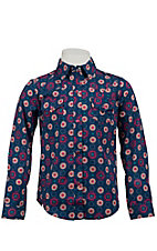 Roper® Girl's Blue w/ Pink Floral Print Long Sleeve Western Shirt