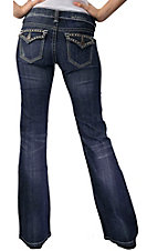 Stetson® Women's Medium Stonewash w/ Silver Studs Flap Pocket Boot Cut Jean