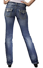 Stetson® Women's Light Stonewash w/ Crystals & Embroidery Flap Pocket Boot Cut Jean