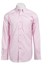 Ariat Men's L/S Balin Pink & White Western Stripe Shirt 10010360