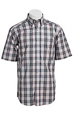 Ariat® Men's S/S Roland White & Grey Western Plaid Shirt 10010548