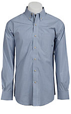 Ariat® Men's L/S Bader Belair Blue Western Plaid Shirt 10010556