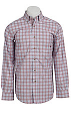 Ariat® Men's L/S Barrett Red & Blue Western Plaid Shirt 10010557