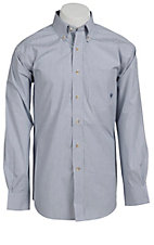 Ariat® Men's L/S Boyce Navy & White Western Plaid Shirt 10010572